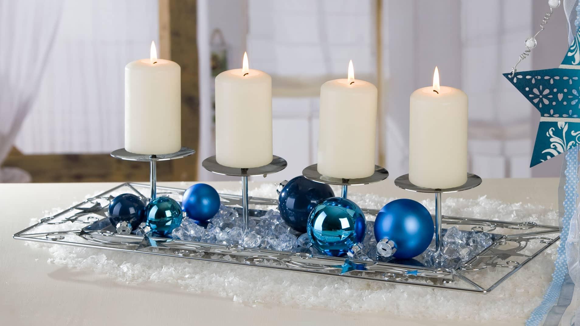 Adventskerzenhalter aus metall 4er silber 51x25x12cm for Weihnachtsdeko silber