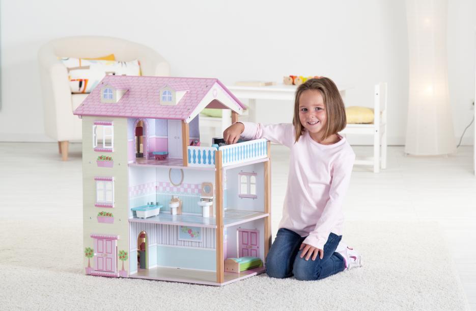 Puppenhaus Holz Ohne ZubehOr ~ Holz Puppenhaus 3 stöckig mit Möbeln kaufen  MIFUS de