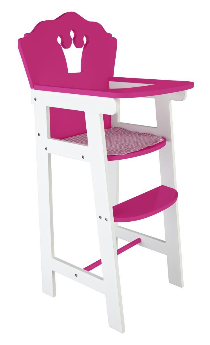 puppenhochstuhl aus holz in wei pink kaufen. Black Bedroom Furniture Sets. Home Design Ideas