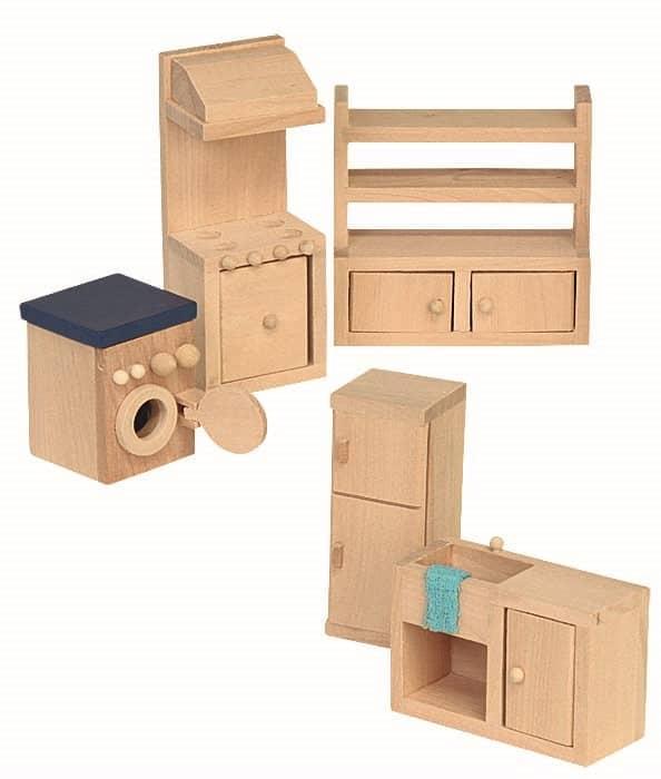 puppenhaus m bel k che 5teilig holz g nstig online kaufen. Black Bedroom Furniture Sets. Home Design Ideas
