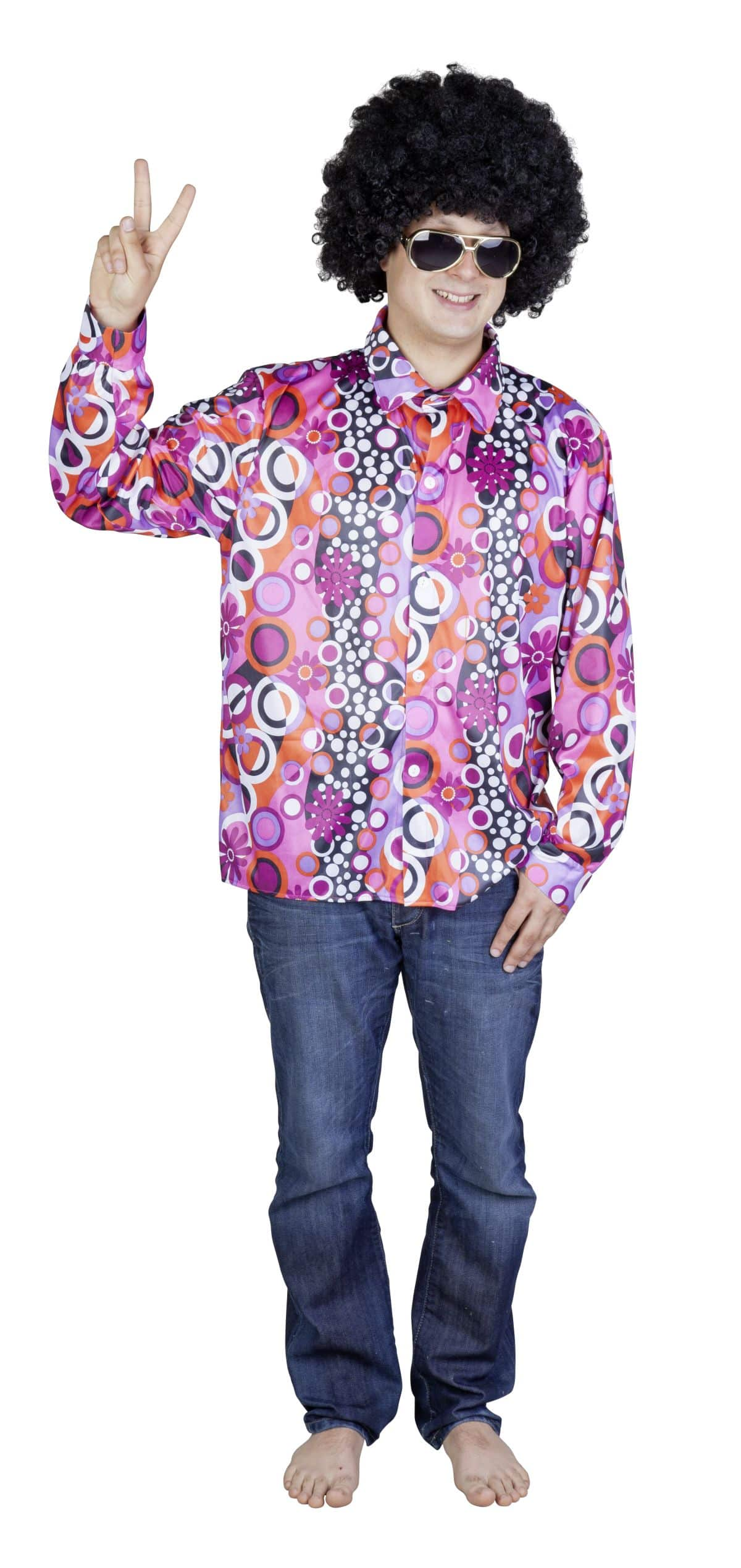 hippie hemd lila pink f r erwachsene g nstig online. Black Bedroom Furniture Sets. Home Design Ideas