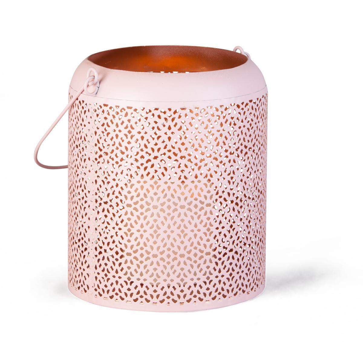 laterne mit led kerze aus rosafarbenem metall 16x20 cm. Black Bedroom Furniture Sets. Home Design Ideas