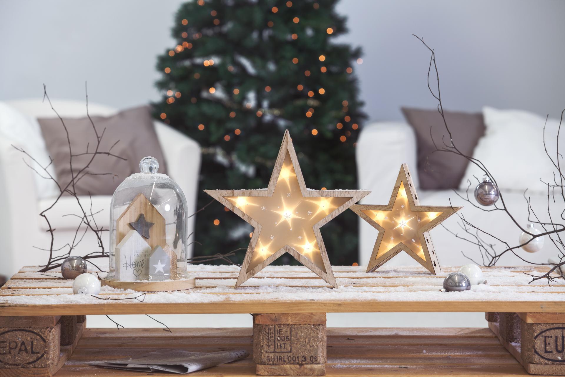 stern aus holz mit beleuchtung 35x35x7 cm g nstig online kaufen. Black Bedroom Furniture Sets. Home Design Ideas