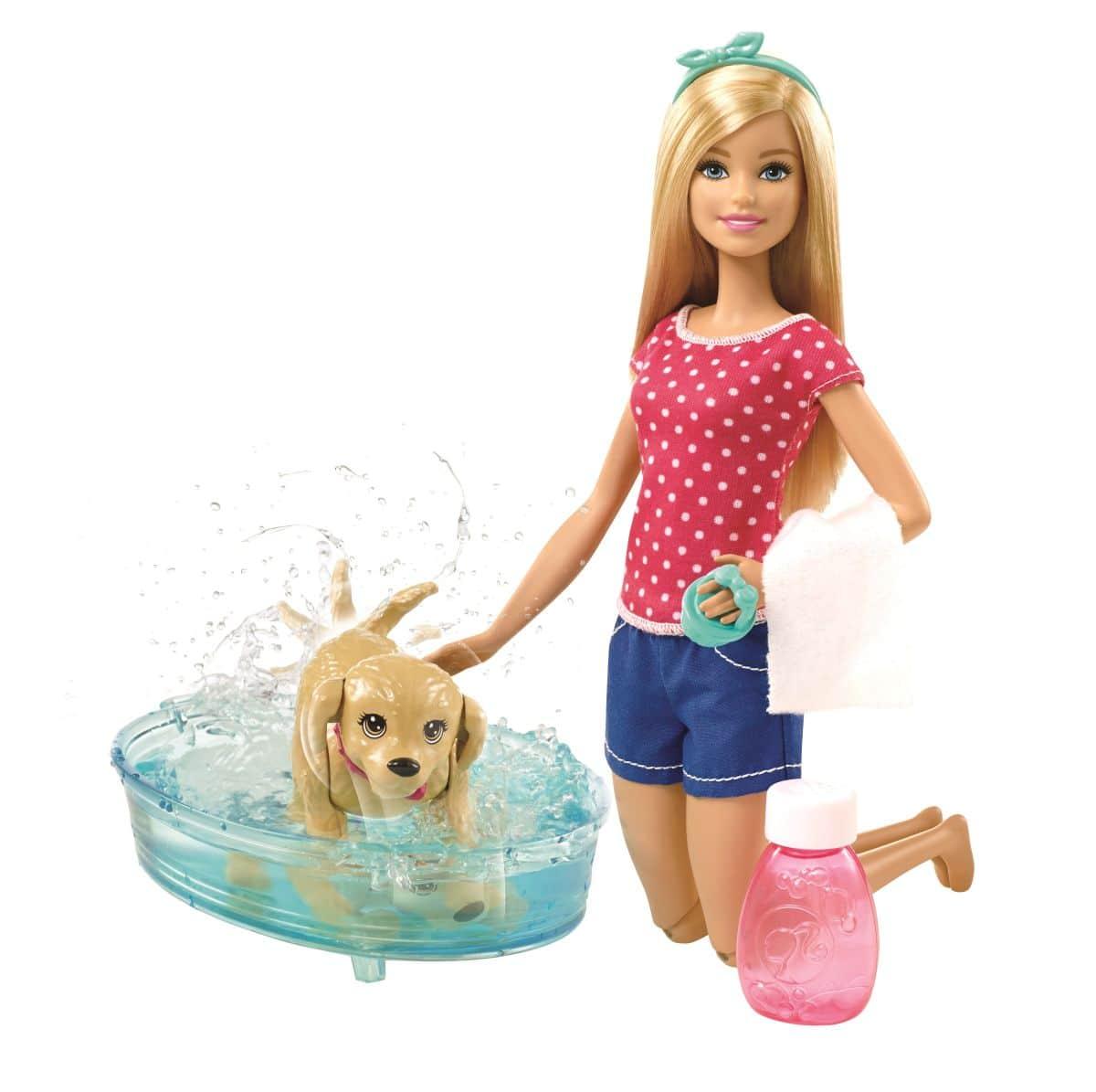 barbie hundebad 1 puppe mit hund und badezubeh r g nstig. Black Bedroom Furniture Sets. Home Design Ideas