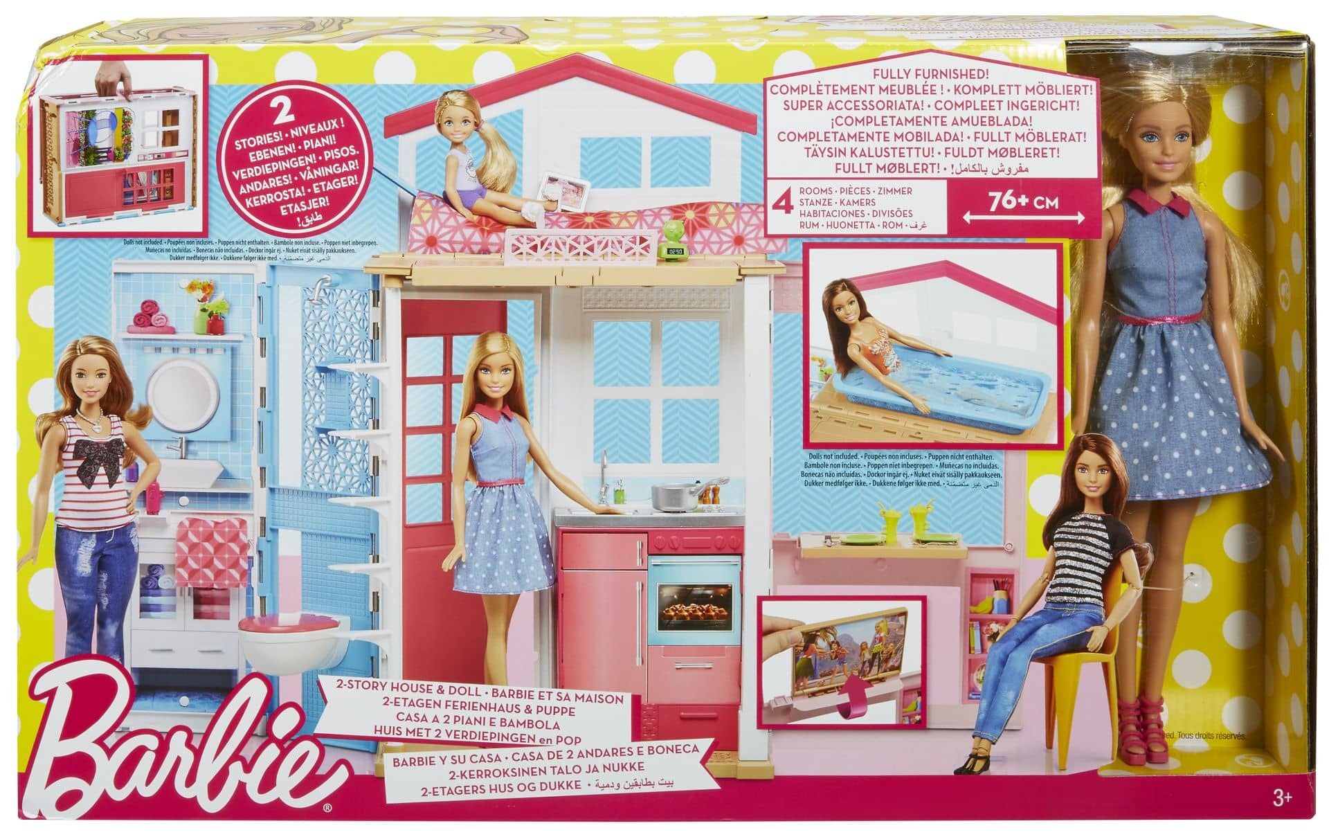 barbie 2 etagen ferienhaus mit 1 puppe g nstig online kaufen. Black Bedroom Furniture Sets. Home Design Ideas